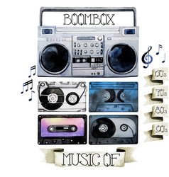 watercolor tape recorder and cassettes vector image