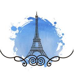 hand drawn eiffel tower paris vector image vector image