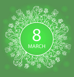happy womens day march 8 frame flower and herb vector image vector image