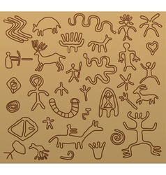 petroglyphs vector image vector image