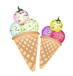 Triple Ice cream Scoops on Two Cones vector image vector image