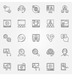 Video conference icons set vector image vector image