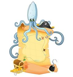 A treasure map with a big octopus vector image