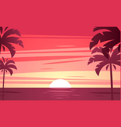 a tropical sunset sunrise with palm trees vector image vector image