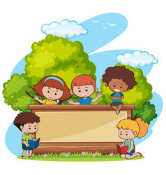 border template with cute girls and boys in park vector image