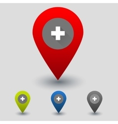 Colorful navigation signs with medicinal cross vector image