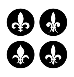 Fleur de lis set in black and white vector image