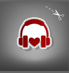 headphones with heart red icon with for vector image vector image
