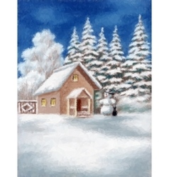House and Snowman in Winter Forest vector image