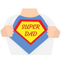 man open shirt super dad hero vector image