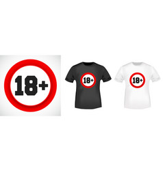 18 age restriction t shirt print stamp vector