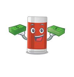 A wealthy glass apple juice cartoon character vector