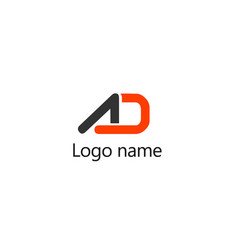 Ad letter initials logo template vector