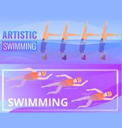 Artistic swimming banner set cartoon style vector