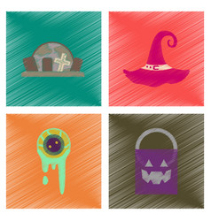 assembly flat shading style icons halloween zombie vector image