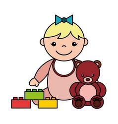 baby girl bear blocks toys vector image