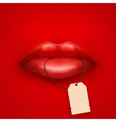 Background of Womans mouth with tag and lips vector image