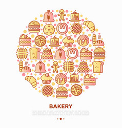 bakery concept in circle with thin line icons vector image