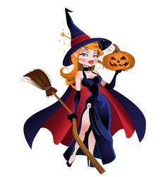 Beautiful witch in cloak with a pumpkin vector