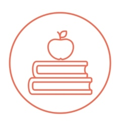 Books and apple on top line icon vector image