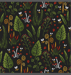 Botanica dark - seamless stylized colored pattern vector