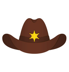 brown sheriff hat icon isolated object front vector image