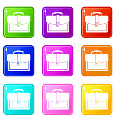 business briefcase set 9 vector image