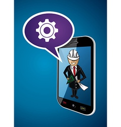 Business man engineer architect phone app concept vector