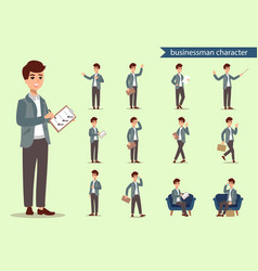 Businessman character set animate character male vector