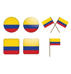 Buttons with flag of Colombia vector