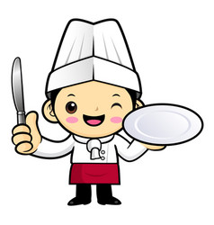 Cartoon chef character is holding a plate and a vector