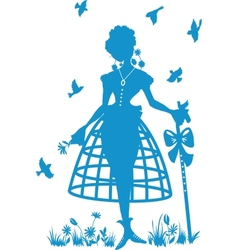 charming shepherdess with a staff vector image