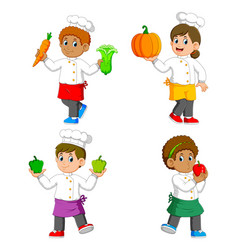 Chef holding vegetables on their hands vector