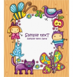 children cartoon frame vector image
