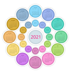 Colorful round calendar 2021 calendar week starts vector