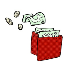 Comic cartoon wallet spilling money vector
