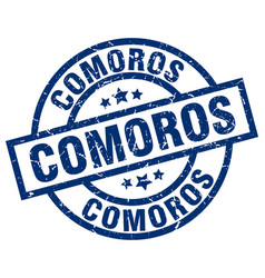 Comoros blue round grunge stamp vector