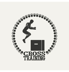 Cross Training man silhouet 3 logo vector image