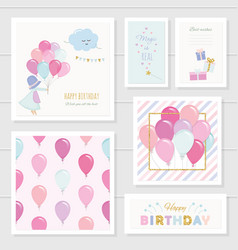 Cute Birthday Cards For Girls With Glitter Vector