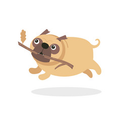 cute pug dog character running with stick pet dog vector image