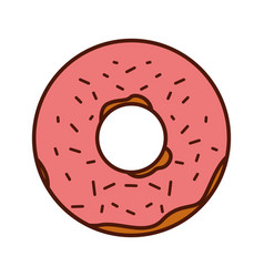 Delicious sweet donut icon vector