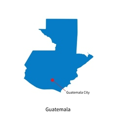 Detailed map of Guatemala and capital city vector image
