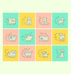different dogs breeds cards with cartoon pets and vector image