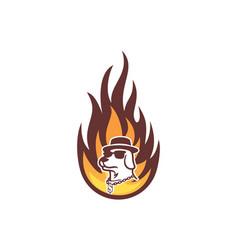 dog fire abstract logo icon vector image