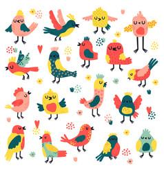 doodle birds cute hand drawn birds doodle vector image