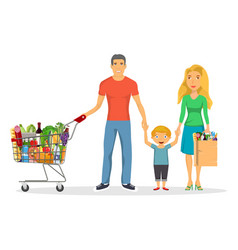 family shopping characters set vector image