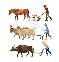 Farmers plows the land with animals vector