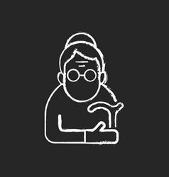 Female pensioner chalk white icon on black vector