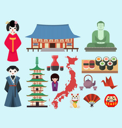 Flat colored symbols of japan travel and vector