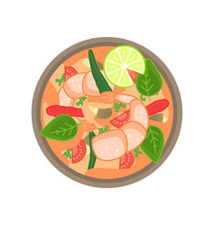 flat thai shrimp sour soup tom yum khung vector image